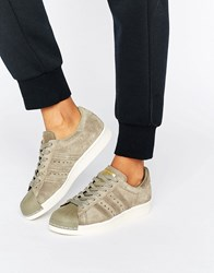 Adidas Originals Beige Superstar 80S Trainers Trace Cargo S17 Cream