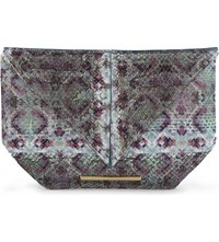 Roland Mouret Classico Snakeskin Clutch Multicoloured Ayers