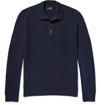 Dunhill Funnel Neck Textured Wool Sweater Navy