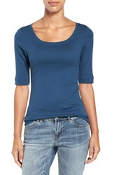 Caslonr Women's Caslon Ballet Neck Cotton And Modal Knit Elbow Sleeve Tee Blue Wing