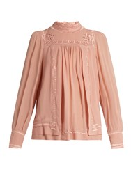 Isabel Marant Maeva High Neck Embroidered Silk Blouse Pink