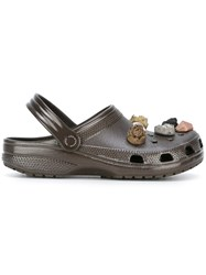 Christopher Kane Stone Embellished Crocs Clogs Brown