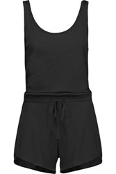 Yummie Tummie By Heather Thomson Ribbed Modal And Pima Cotton Blend Playsuit Black