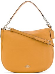 Coach Large Tote Women Leather One Size Yellow Orange
