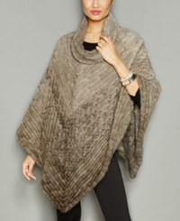 The Fur Vault Knitted Mink Poncho Dusty Grey