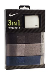 Men's Nike Web Belts Black Grey Blue 3 Pack