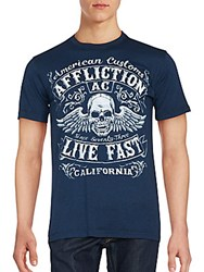 Affliction Solid Cotton T Shirt Colbalt