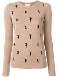 Sonia Rykiel Embroidered Panther Jumper Wool Nude Neutrals