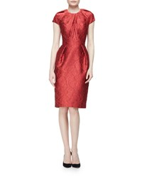Carmen Marc Valvo Cap Sleeve Structured Floral Sheath Dress Red