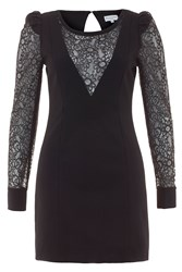 Wolf And Whistle Long Sleeve Stretch Lace Dress Black