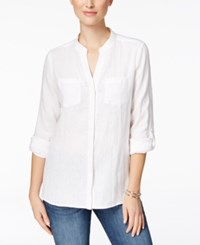 Charter Club Linen Windowpane Back Shirt Only At Macy's Bright White