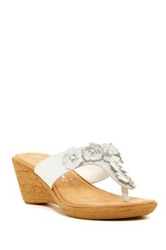 Italian Shoemakers Folly Leather Wedge Sandal White