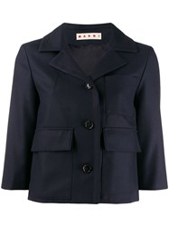 Marni Cropped Fitted Jacket Blue