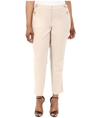Calvin Klein Plus Plus Size Straight Pants W Buckle Zip Latte Women's Casual Pants Brown