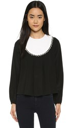 Cynthia Rowley Bib Blouse Black