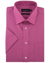 Double Two Men's Plain Short Sleeved Non Iron Cotton Rich Shirt Rose