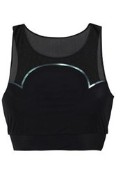 Lucas Hugh Woman Cropped Metallic Trimmed Mesh And Stretch Sports Top Black