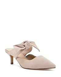 Botkier Pina Bow Accented Suede Kitten Heel Mules Blush