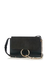 Chloe Faye Small Suede And Leather Shoulder Bag Dark Green