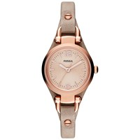 Fossil Es3262 Women's Georgia Mini Leather Strap Watch Sand Rose Gold