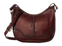 Frye Cara Saddle Burgundy Washed Oiled Vintage Hobo Handbags