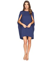 Halston Cape Sleeve Round Neck Dress Navy Women's Dress