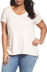 Eileen Fisher Plus Size Women's V Neck Slub Organic Cotton Tee Shell