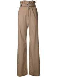 N Duo Flared High Waisted Trousers Brown
