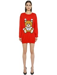 Moschino Bear Intarsia Cotton Knit Sweater Dress
