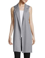 Design Lab Lord And Taylor Collared Open Front Vest Grey