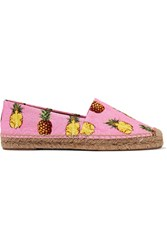 Dolce And Gabbana Printed Brocade Espadrilles Baby Pink