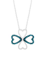 Lord And Taylor Cubic Zirconia Sterling Silver Floral Heart Necklace Blue