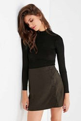 Urban Outfitters Uo Shelly Linen Button Down Mini Skirt Olive