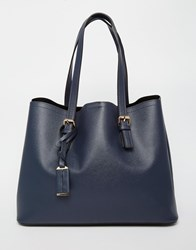 Warehouse Double Buckle Detail Tote Navy