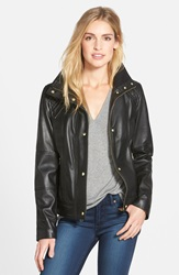 Cole Haan Knit Collar Lambskin Leather Bomber Jacket Black