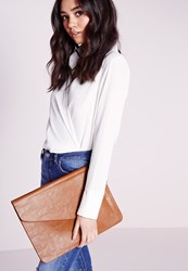 Missguided Oversized Envelope Clutch Bag Brown