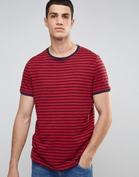 Celio Striped T Shirt Rouge Red