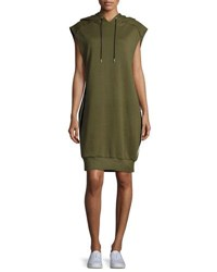 Public School Loren Hooded Side Stripe Cotton Dress Olive