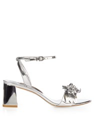 Sophia Webster Lilico Patent Leather Block Heel Sandals Silver