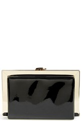 Natasha Couture Patent Framed Box Clutch Black Black Pantent