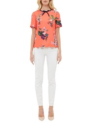 Ted Baker Syndi Tropical Oasis Bow And Scallop Detail Top Mid Red