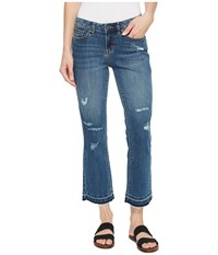 Prana Cia Cropped Flare Jean Distressed Antique Blue Jeans