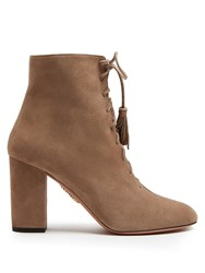 Aquazzura Jourdan Lace Up Suede Ankle Boots Beige