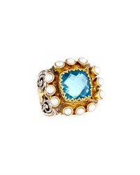 Konstantino Amphitrite Cushion Topaz And Multi Pearl Statement Ring Blue