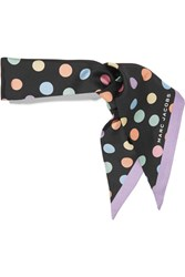 Marc Jacobs Polka Dot Silk Crepe De Chine Scarf Black