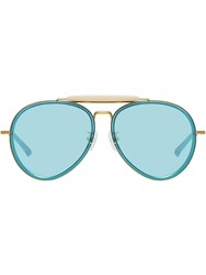 Linda Farrow Aviator Sunglasses Blue