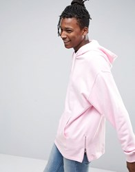 Asos Oversized Longline Hoodie With Side Zips In Pink Millions