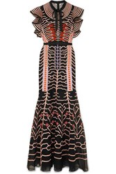 Temperley London Canopy Pussy Bow Silk Satin Trimmed Embroidered Organza Gown Midnight Blue