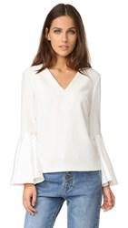 Edit V Neck Flute Top White