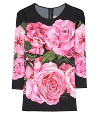 Dolce And Gabbana Printed Crepe Top Pink